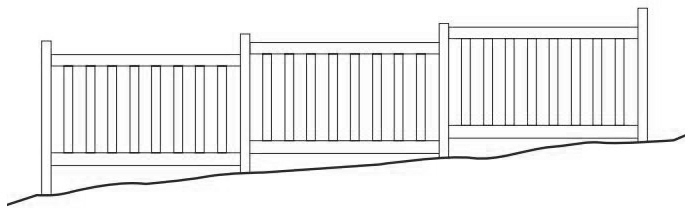 Stair-Stepping Vinyl Fence