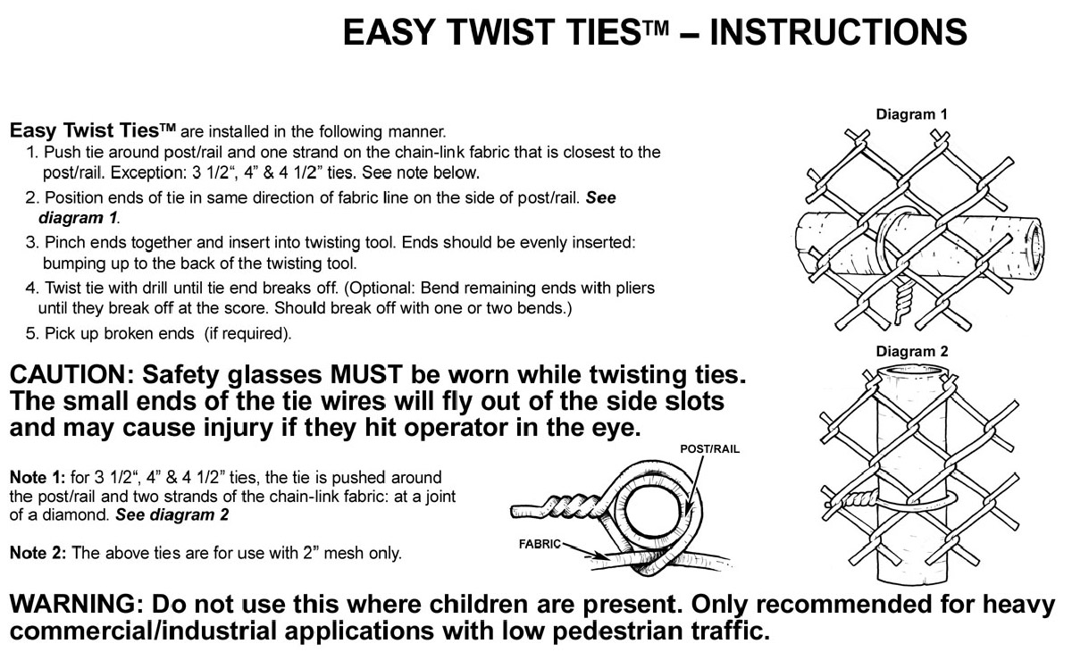 Easy Twist Ties Hoover Fence Company