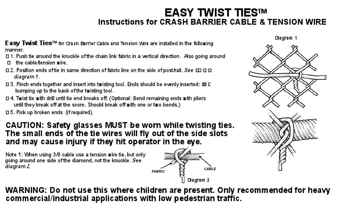 Easy Twist Preformed Steel Tension Wire Ties Colored