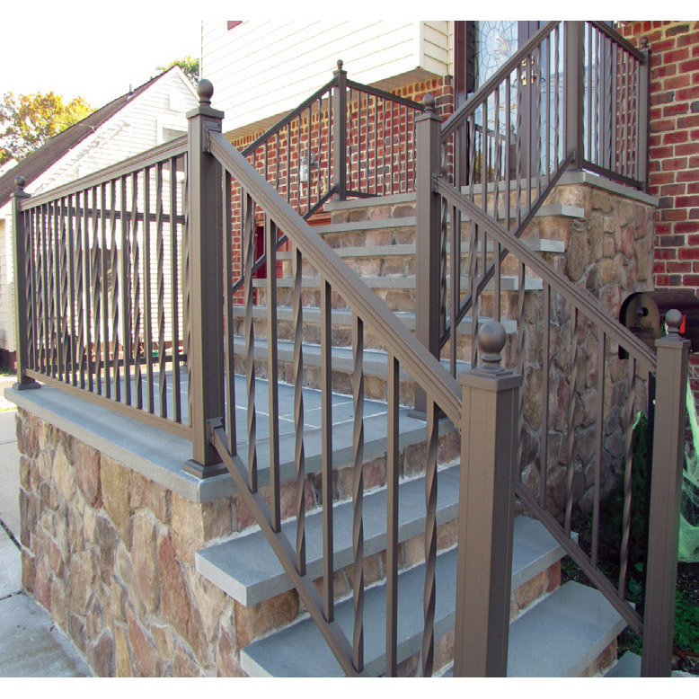 American Railing with Alternating Square and Twisted Balusters