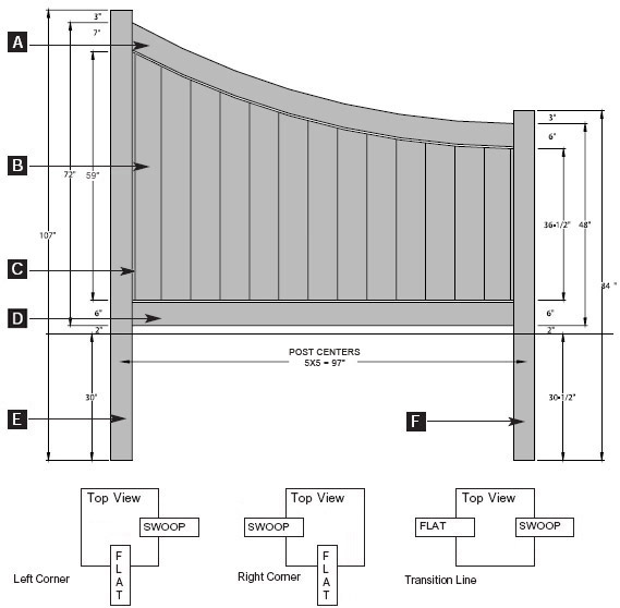 Chesterfield Swoop Style - 6' to 4' high transition panel specifications