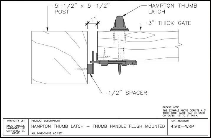 Snug Cottage Hardware Hampton Thumb Latches For Wood Gates