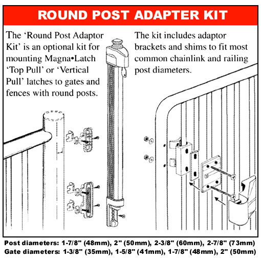 Magna-Latch Series 2 Round Post Adaptor Diagram