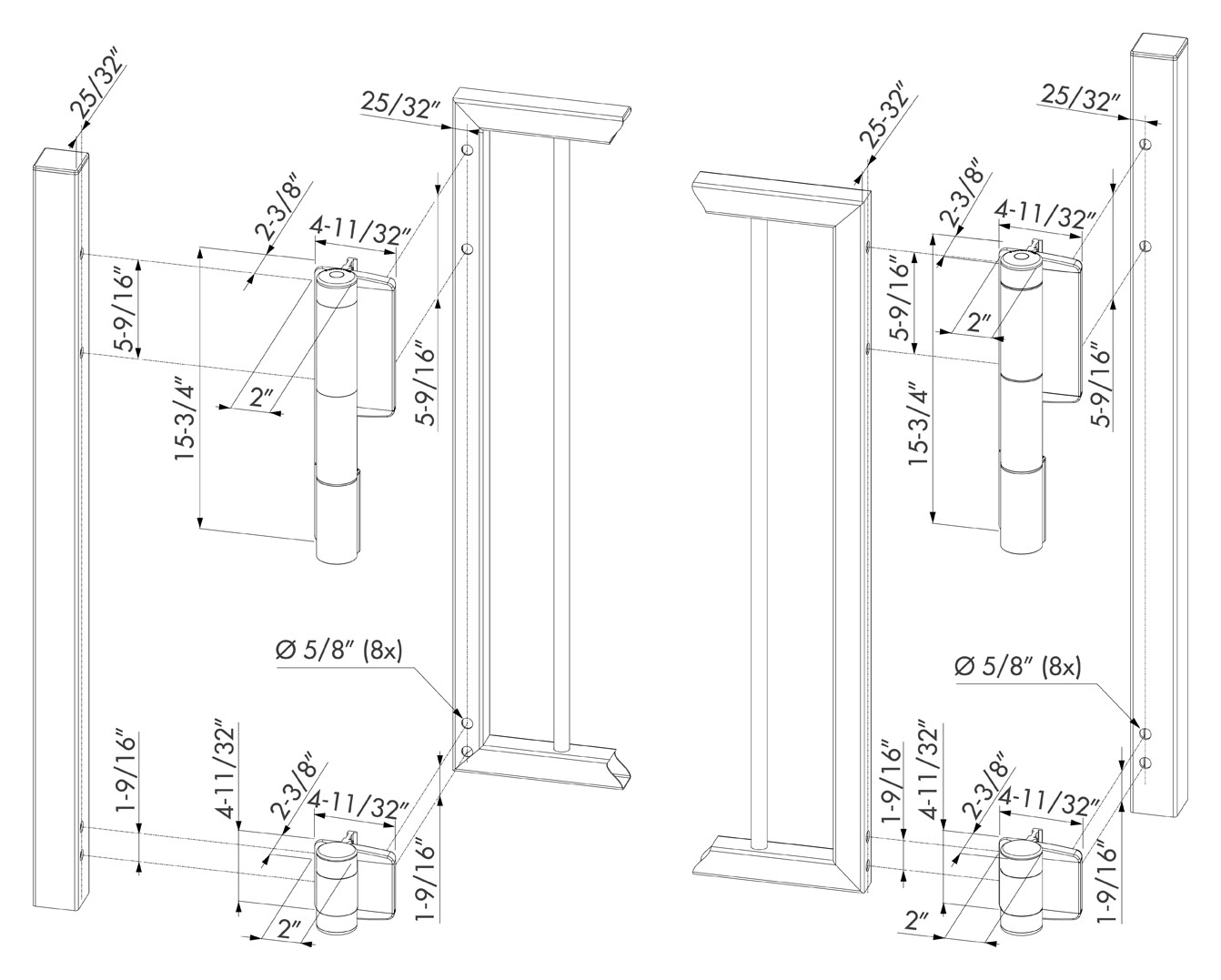 Locinox Mammoth180 Self-Closing Hinge Set | Hoover Fence Co. on