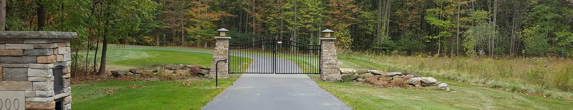 Ornamental Driveway Gate with Operator and Keypad on Columns